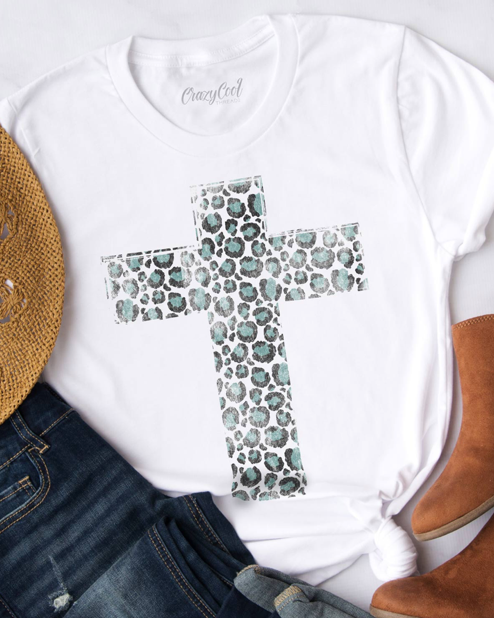 Distressed Cheetah Cross Graphic Tee