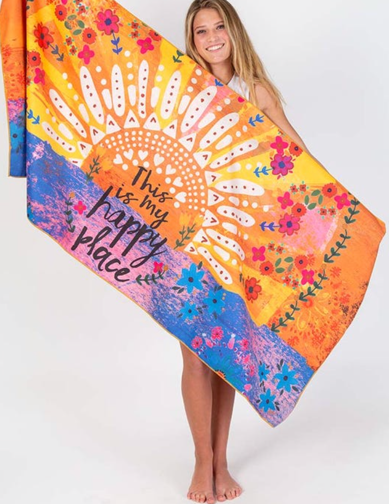 My Happy Place Microfiber Beach Towel