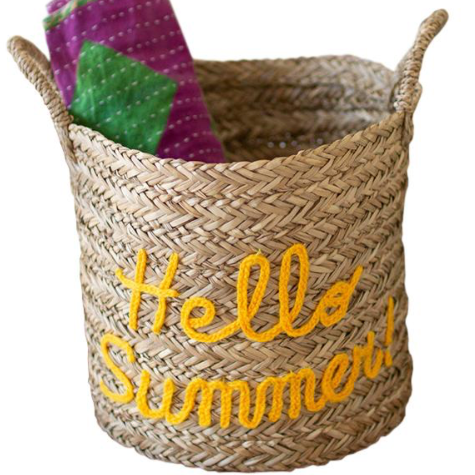 Hello Summer Wicker Basket