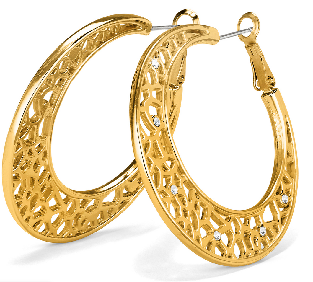 Brighton Fiji Sparkle Hoop Earrings (Silver or Gold)