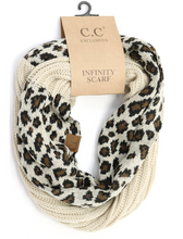**NEW** Ribbed Knit Leopard Accent Infinity Scarf