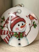 "6"" Metal Snowman and Cardinal Disc Ornament"