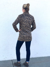 Leopard Button Down Jacket in Brushed Polyester