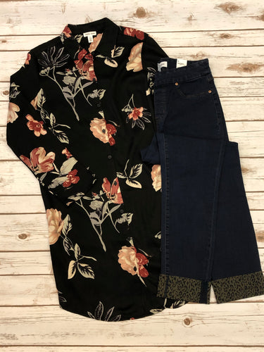 Floral Shirt Dress with Roll-Up Sleeves (Ashwood)