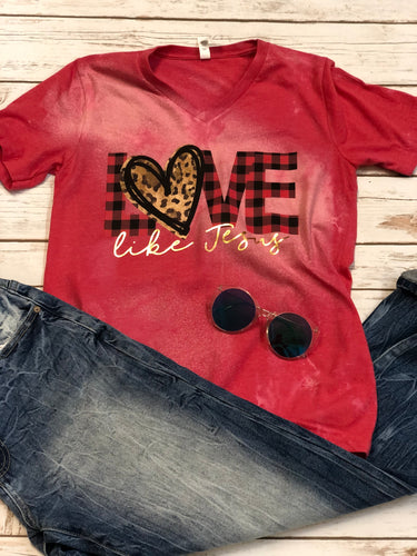 Love Like Jesus Bleached Graphic Tee