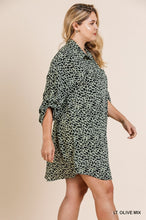 Animal Print Roll Up Sleeve V-Neck Collared Dress