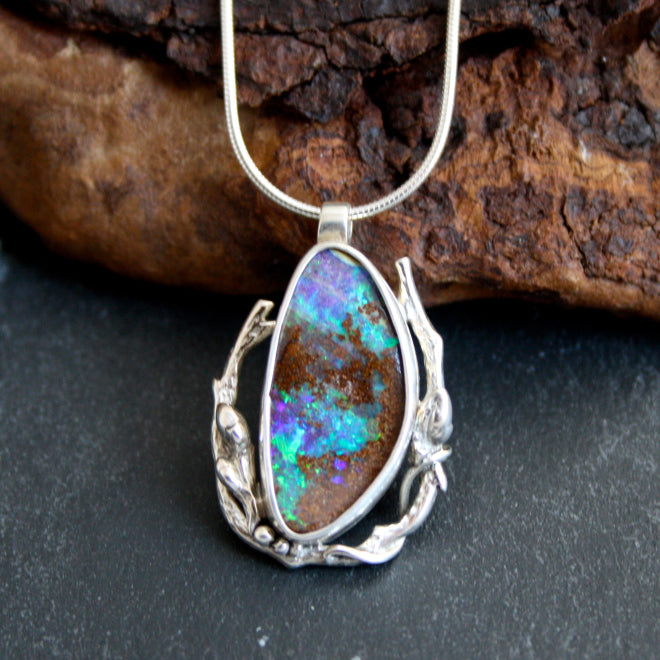 Woodland Glow with Blue Boulder Opal $385