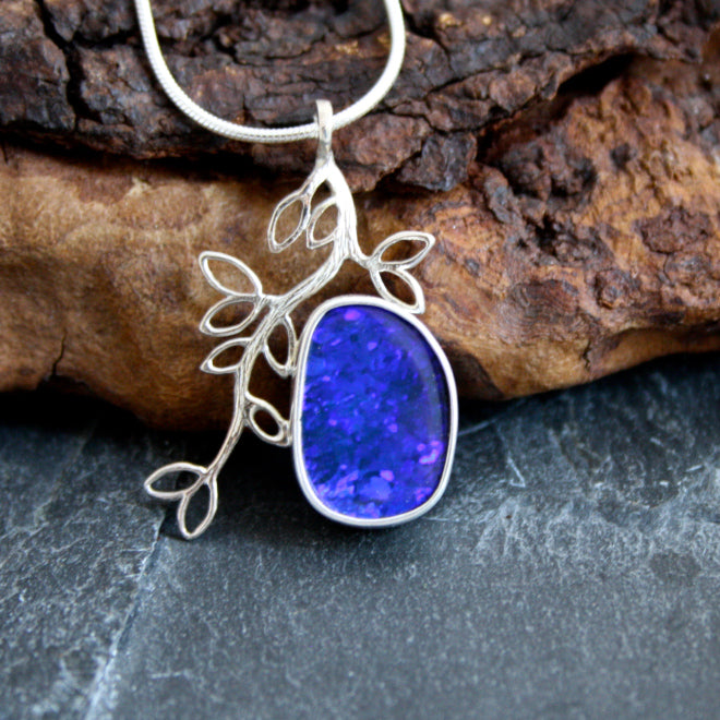 MIdnight Glow with Blue Boulder Opal $195