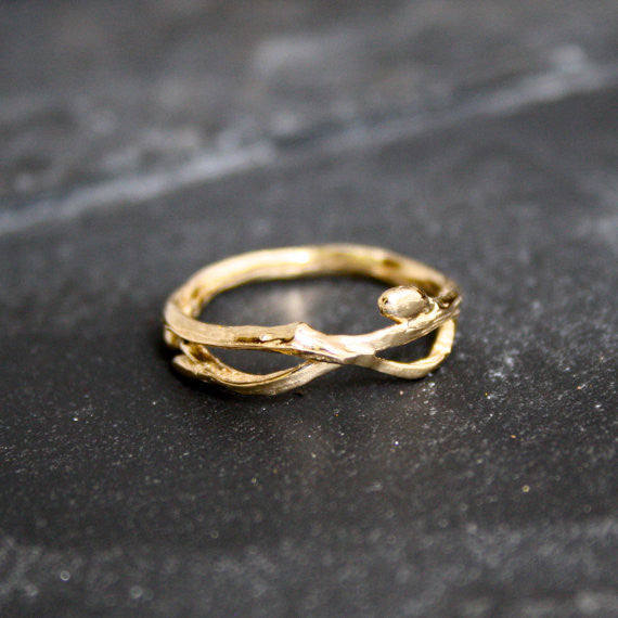 Infinity branch organic wedding band