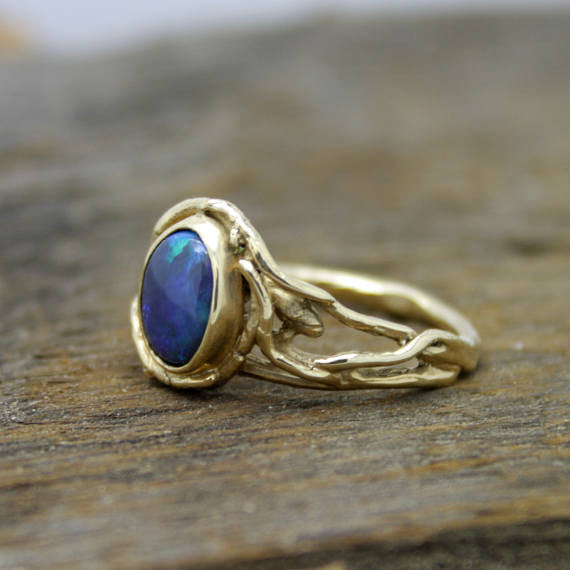 Black Opal Woodland Branch ring