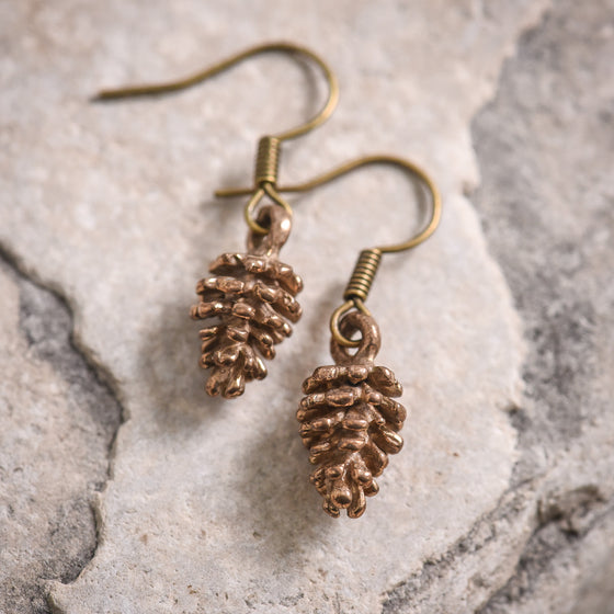 Pine Cone Earrings in Bronze