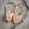 Mini Rose Leaf Earrings in Rose Gold Filled