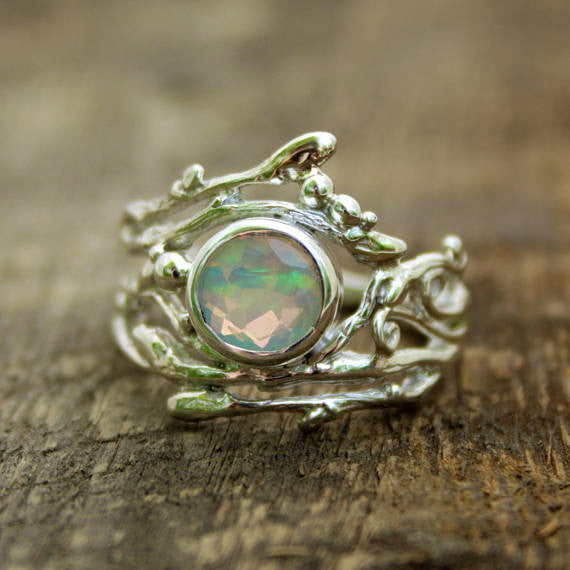 Faceted Ethiopian Opal Woodland Ring