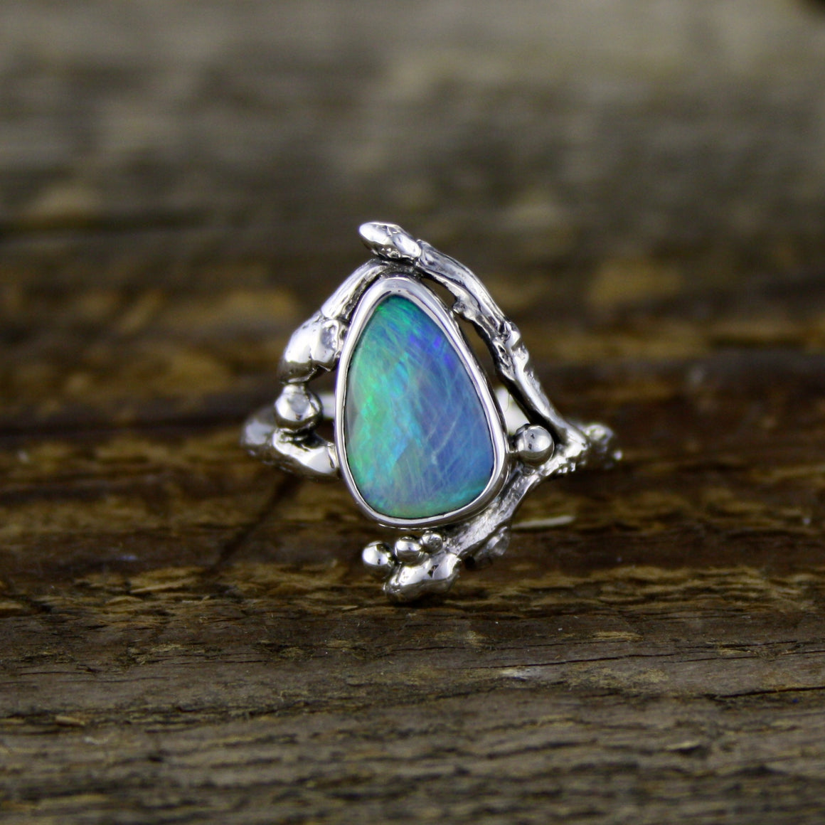 Crystal Opal Bud Ring