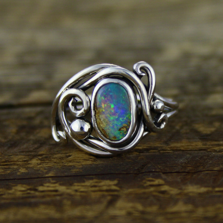 Crystal Opal Flow Ring