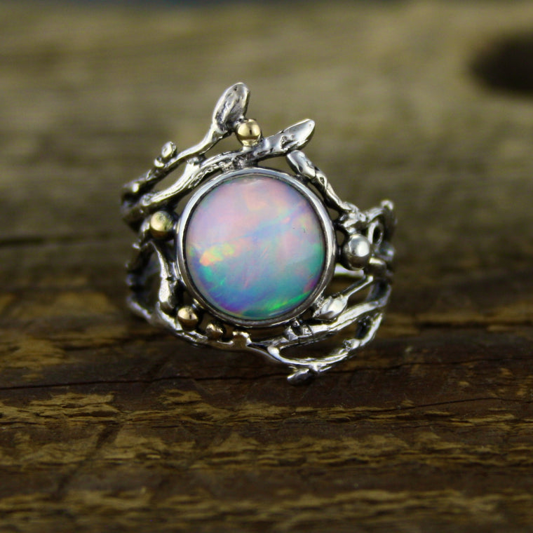 Stunning Welo Opal Woodland Ring