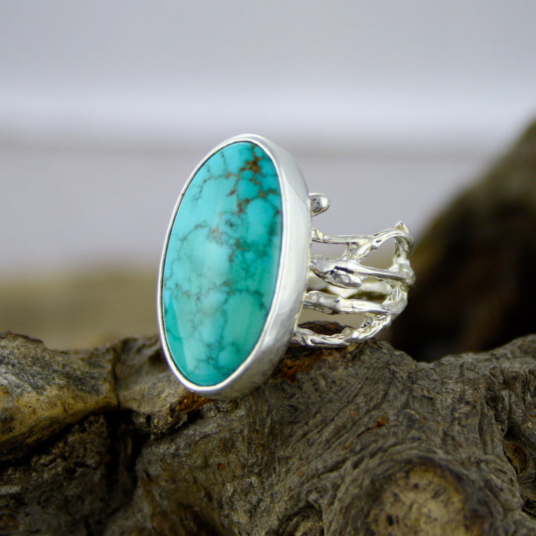 Beautiful Turquoise Mountain Woodland Ring
