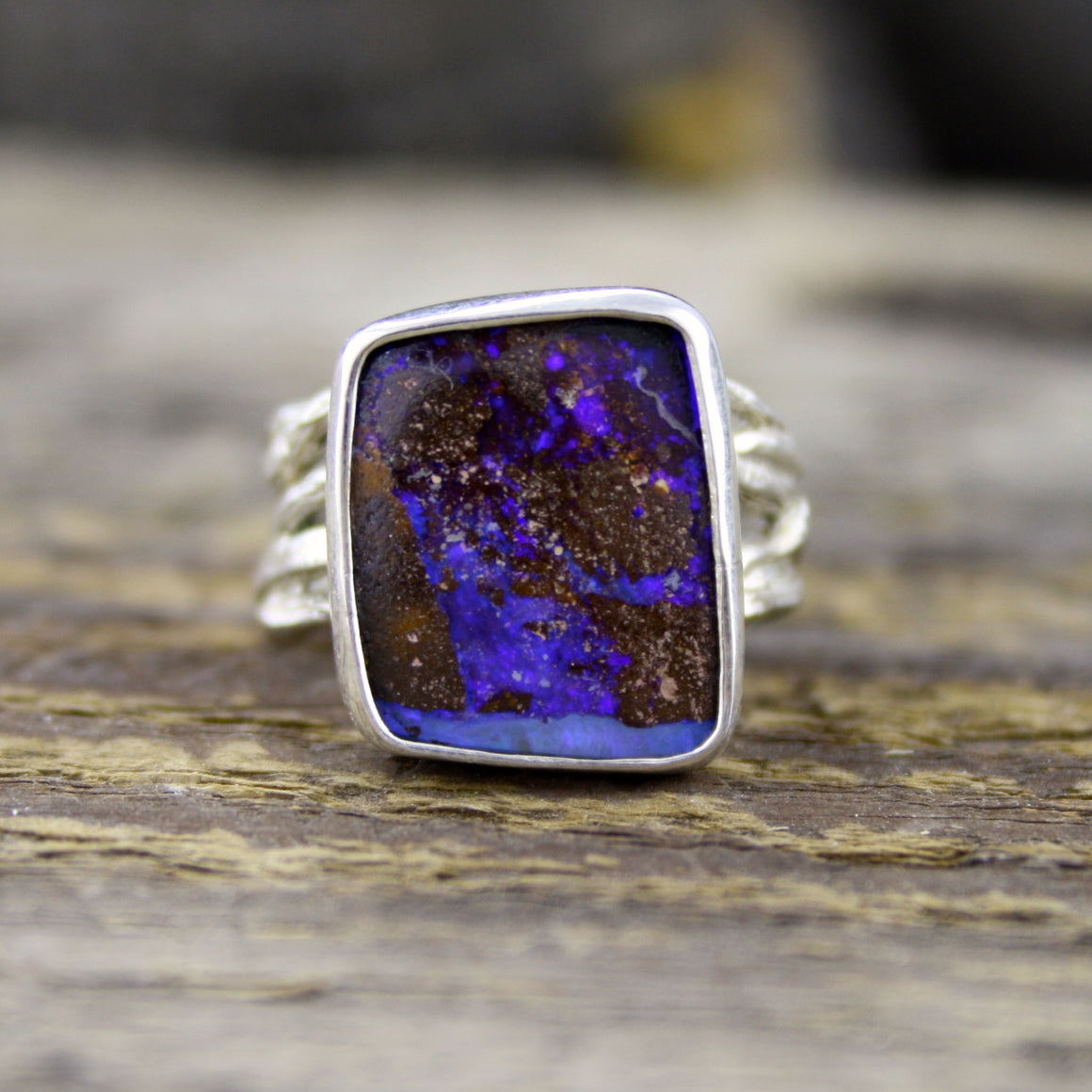 Purple Boulder Opal Ring