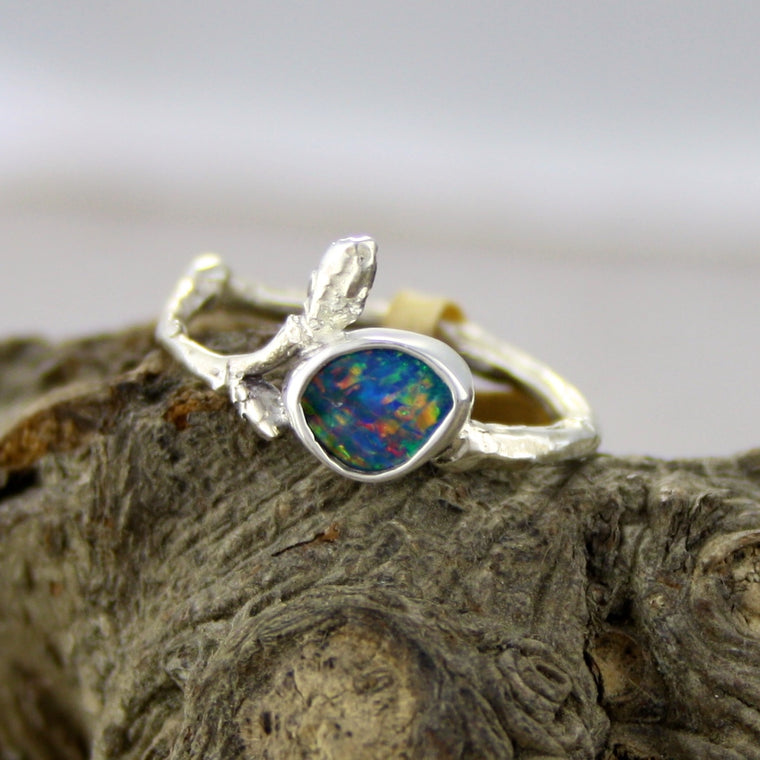 Sweet Australian Opal Birch Bud Ring