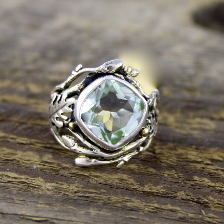 Green Amethyst Woodland Ring