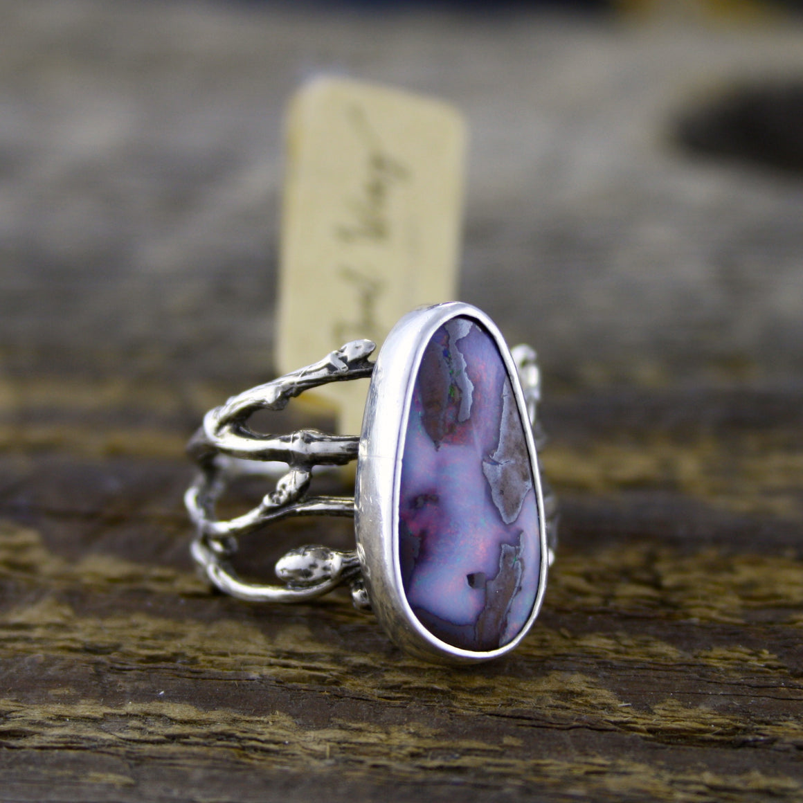 Deep Boulder Opal Woodland Ring
