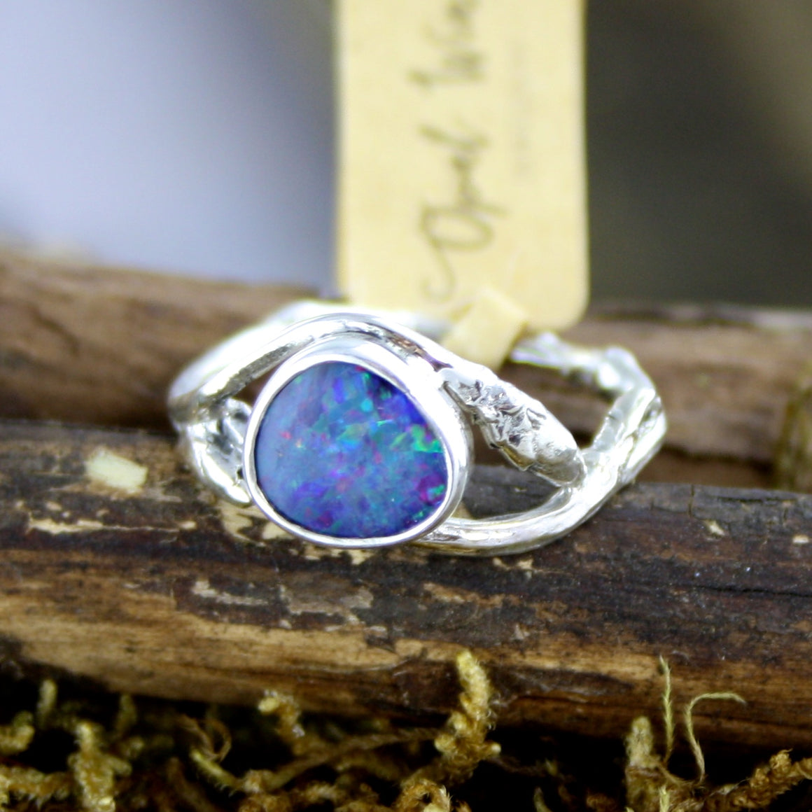Blue Fire Opal Branch Ring