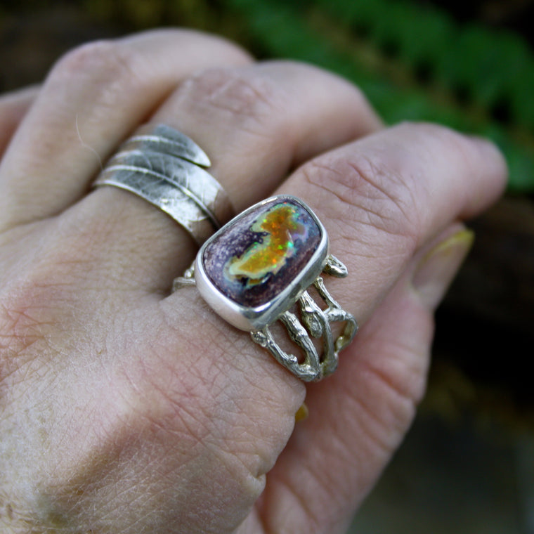 Mexican Fire Opal Woodland Ring