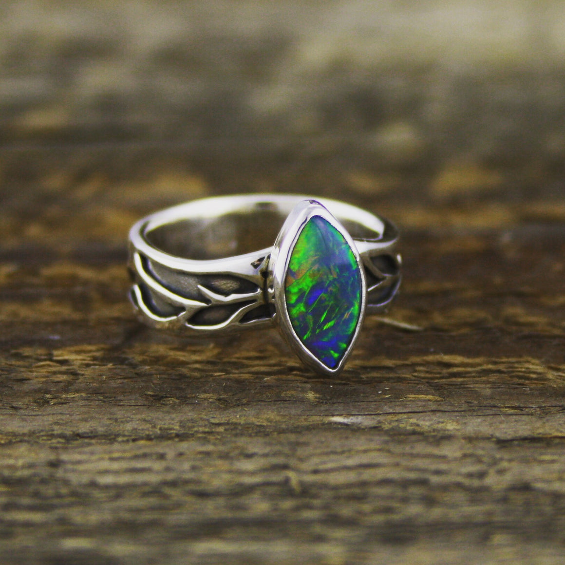 Black Opal Vine Ring