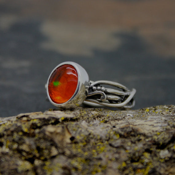 Mexican Fire Opal Amazing elvin flow clear ring