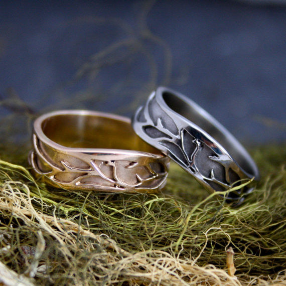 Organic Vine Wedding Band 14kt Gold