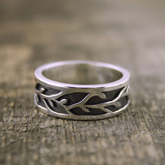 Organic Vine Flow Ring, His Wedding Band
