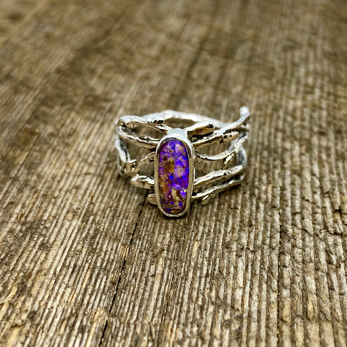 Purple Pipe Boulder Opal Woodland Ring