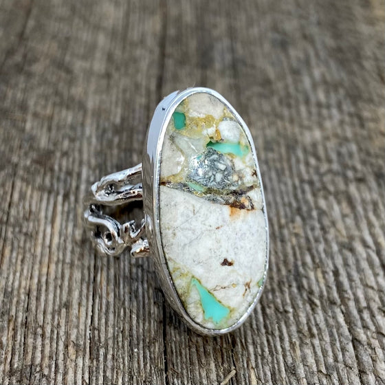 White buffalo Royston Turquoise ring