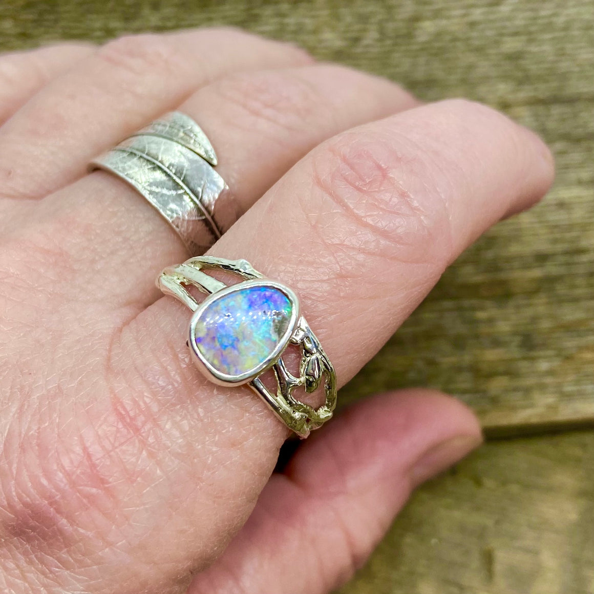 Beautiful iridescent purple Pipe Boulder Opal Ring