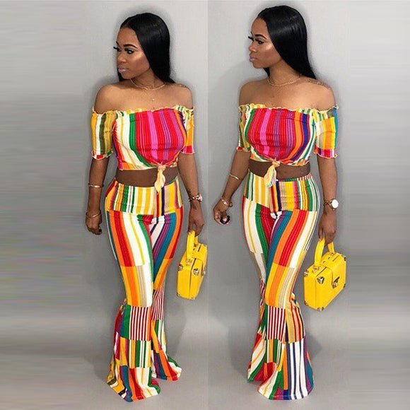 2 Piece Summer Wide Leg Pants Set