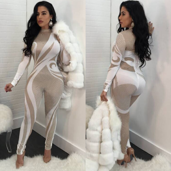 2019 Turtleneck  2Tone Spandex Jumpsuit (Sizes: S - 2XL)