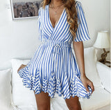 Loose Stripe Me Down, Summer V-neck Dress (Size:S-2XL)