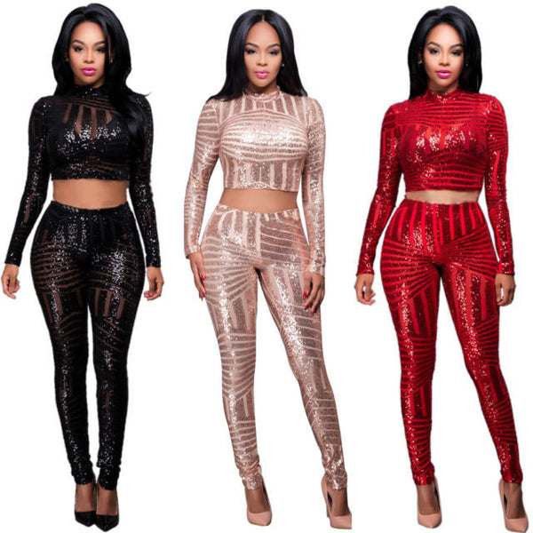 Sequins Crop Top & Pants set