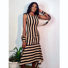 Striped Long O -Neck Angel Winged Dress (S-XXL)