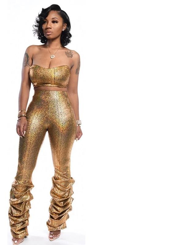 Solid Gold Snakeskin Print Two Piece Strapless Runched Skinny Pant Set S-XXL