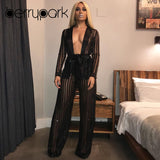 2019 Sexy High Waisted Mesh 2 Piece Pant Suit Set (Sizes:S - XL)