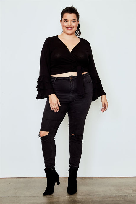 Plus size tiered bell sleeve tie front wrap top
