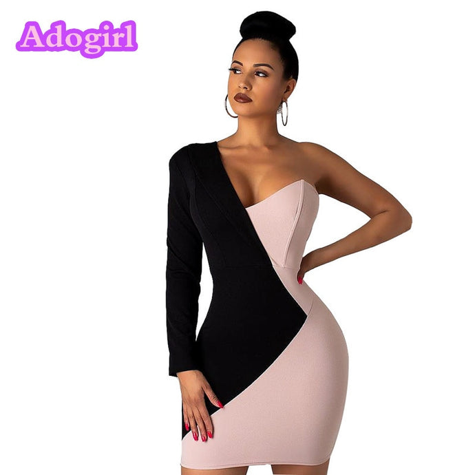 Color Block Patchwork One Shoulder Mini Dress (S-XL)