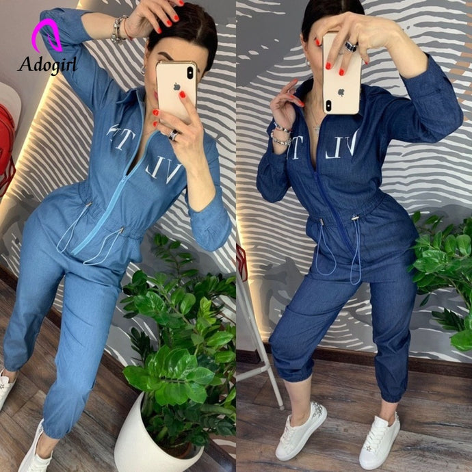 Denim Blue Zipper Up, Long Pant Jumpsuit S-XL