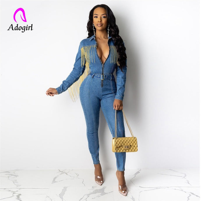 Denim Fitted Tassel Jumpsuit (S-2XL)