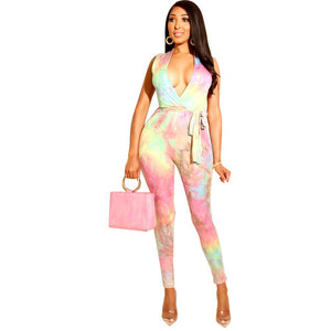 Tie Dye Sexy V - Neck  Jumpsuit (S-2XL)Ships from USA or China
