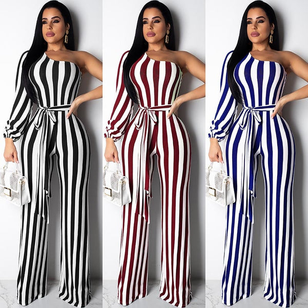 Night Out On The Town, One Sleeve Jumpsuit (S-XL) Ships from USA or China