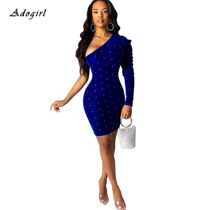 Elegant Velvet Blue One Sleeve Dress (S-XL)