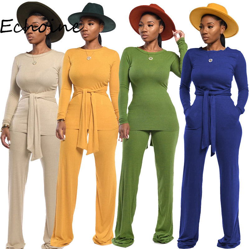 Women Long Sleeve O-Neck Pant Set Size S - 2XL
