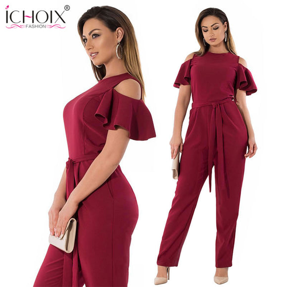 Elegant Off The Shoulder Plus size Jumpsuit (Sizes:XL - 6XL)